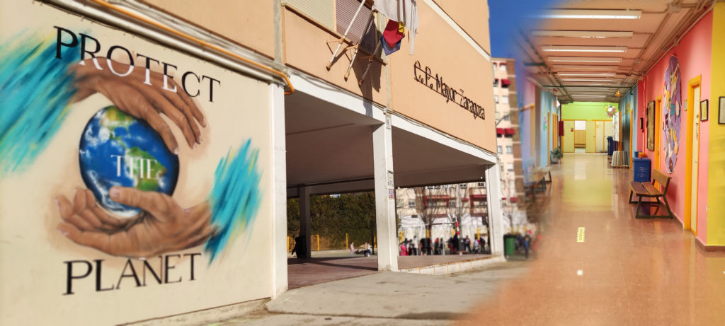Colegio exterior y pasillo